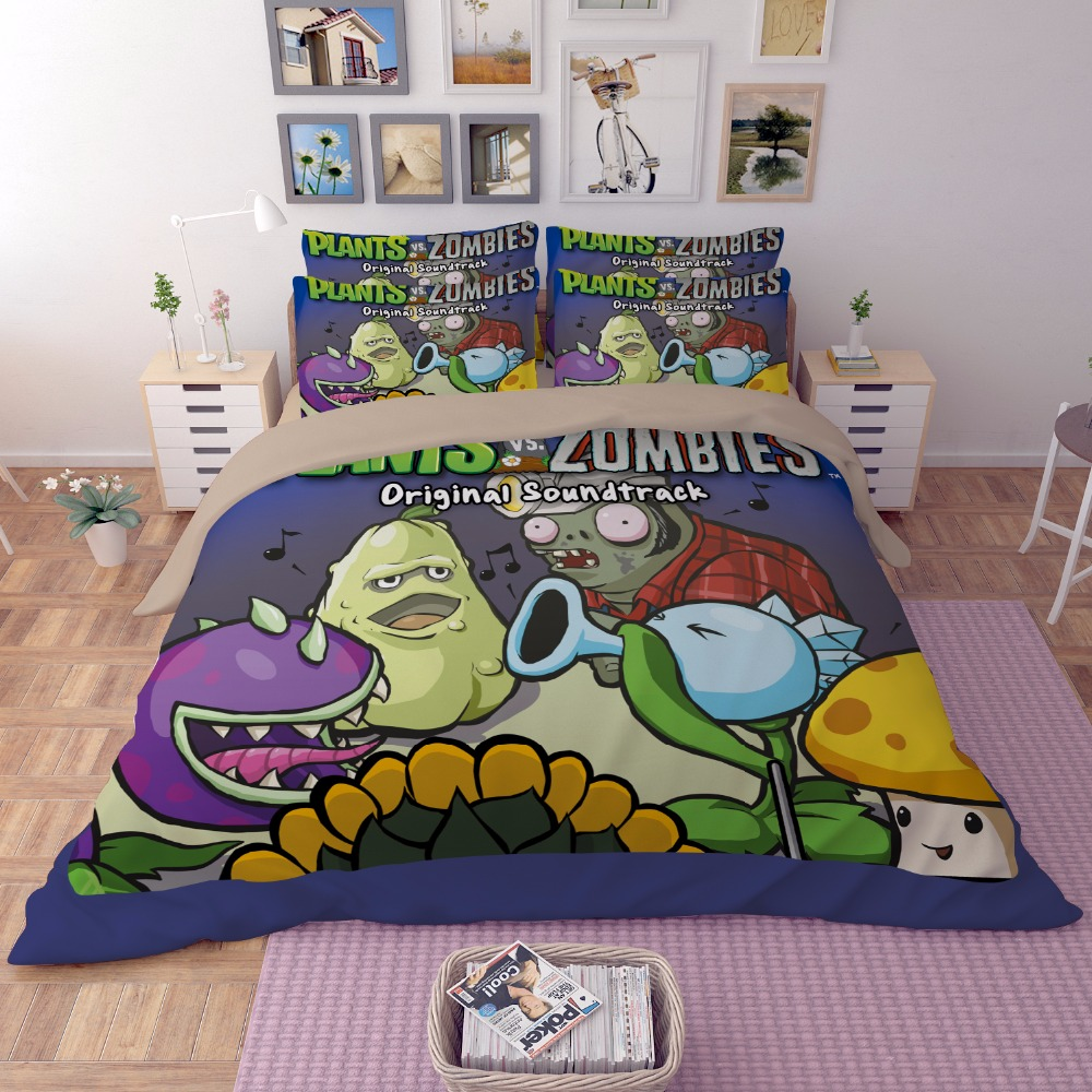 Cartoon Plants vs Zombies printing 3d bedding sets children kids 3pcs full queen king size luxury