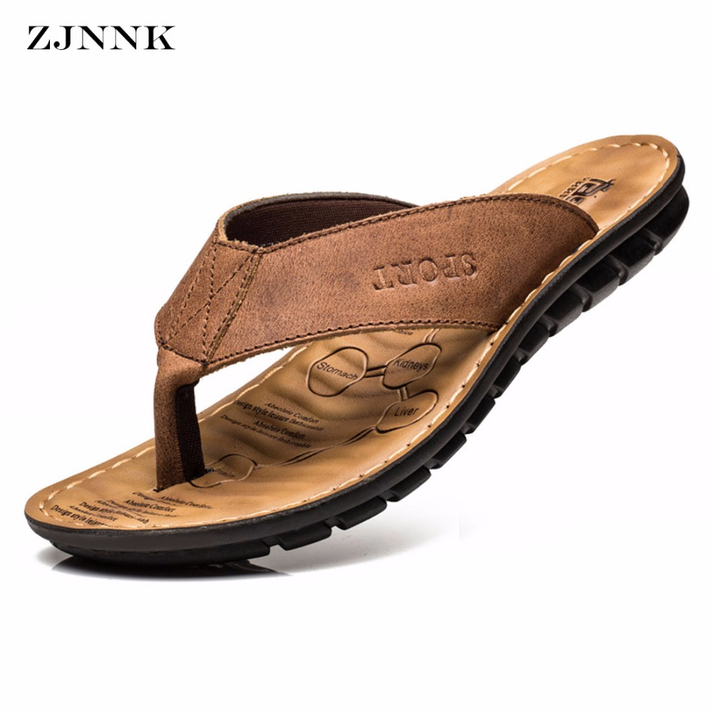 ZJNNK Cow Leather Men Beach Slippers Fass
