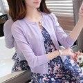 Новый сплошной цвет моды для женщин, Свитер женский кардиган тонкий верхняя одежда 2016 лето коротким дизайн свитер с длинными рукавами небольшой мыс