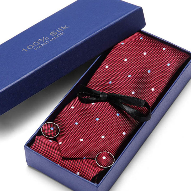 New Style  Tie Set With Gift Box Jacquard Woven Gravata Silk Tie Hanky Cufflinks Necktie Sets For Wedding Party Men