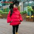 Chifave New Outono Inverno Meninas Crianças Espessamento Quente Parkas Sólidos Manga Comprida de Gola Alta Moda Outwear Casacos para Menina Crianças