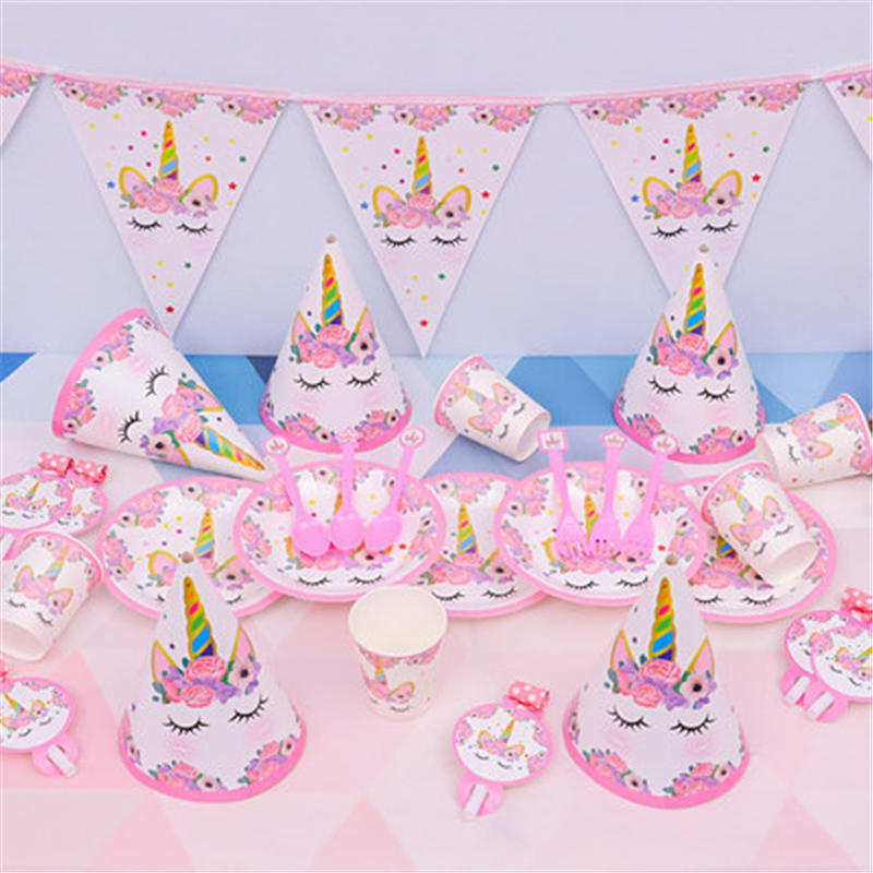 Unicorn Party Children Holiday Disposable Tableware Birthday Party Decorations Kids Cup+Plate+Tablecloth+Gift Bag Party Supplies
