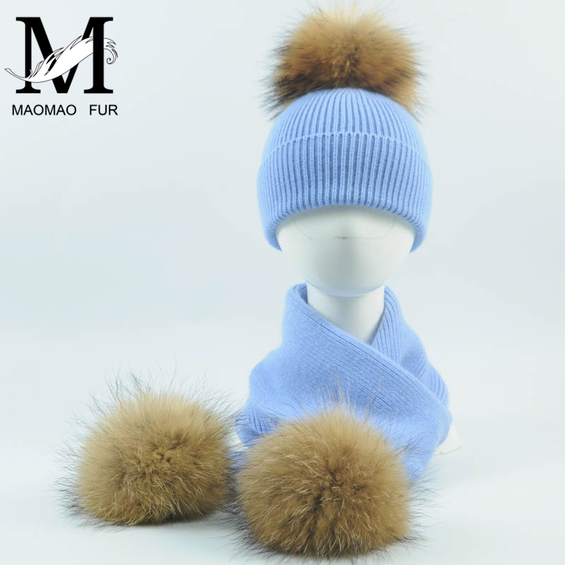 Kids Knitted Scarf And Hat Set New Fashion 2Pcs Toddler Baby Girls Boys Solid Winter Warm Fur Pom Pom Knitted Hat+Scarf Set