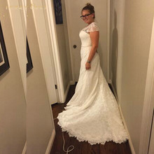 2017 Amelia Sposa Wedding Dresses A Line Capped Court Train White Beading Lace Covered Button Bridal Gowns Applique Sash