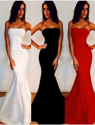 f5f61086dc56 Hot Sales 3 Color Women Strapless Vestidos Bodycon Bandage Maxi Dress Sexy Fishtail  Dress Wedding Party Dresses Mermaid Dresses