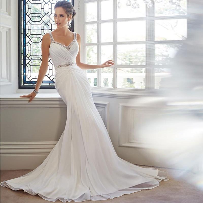 Vestido de novia corte en v