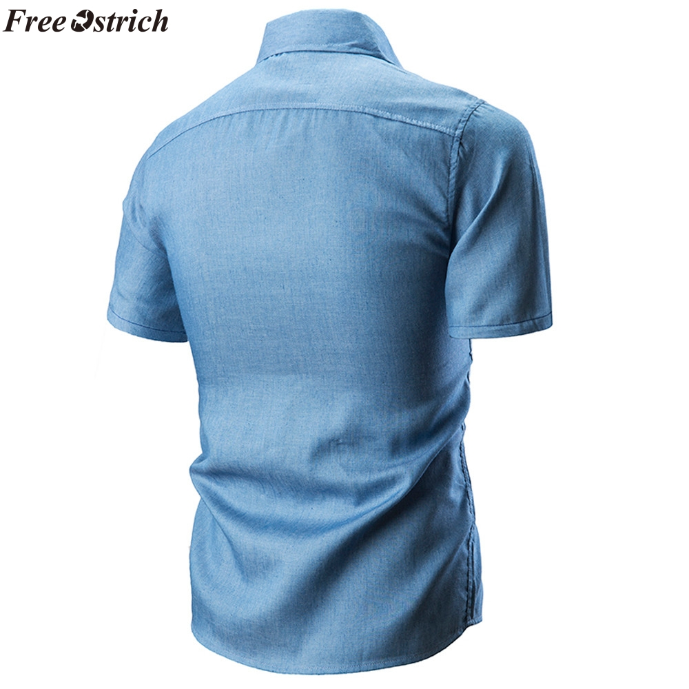 Fit Libre Azul Camisa Hombre Corta Slim Algodón Hombres Streetwear Verano Avestruz Alta Color Calidad navy Manga Social Casual Denim De Blusa Los RqrIRw4