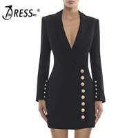 INDRESSME Sexy Deep V Button Women Blazers Fashion Solid Black White Full Sleeve Women Suits 2019 Winter New Women Dress