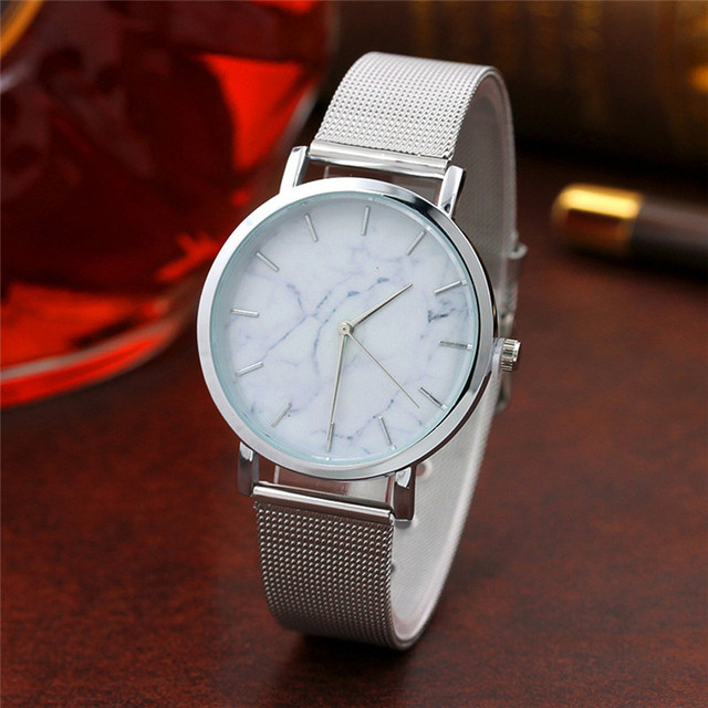 2018 quartz Marble Surface Stainless Steel Band Quartz Movement Wrist Watch Fash
