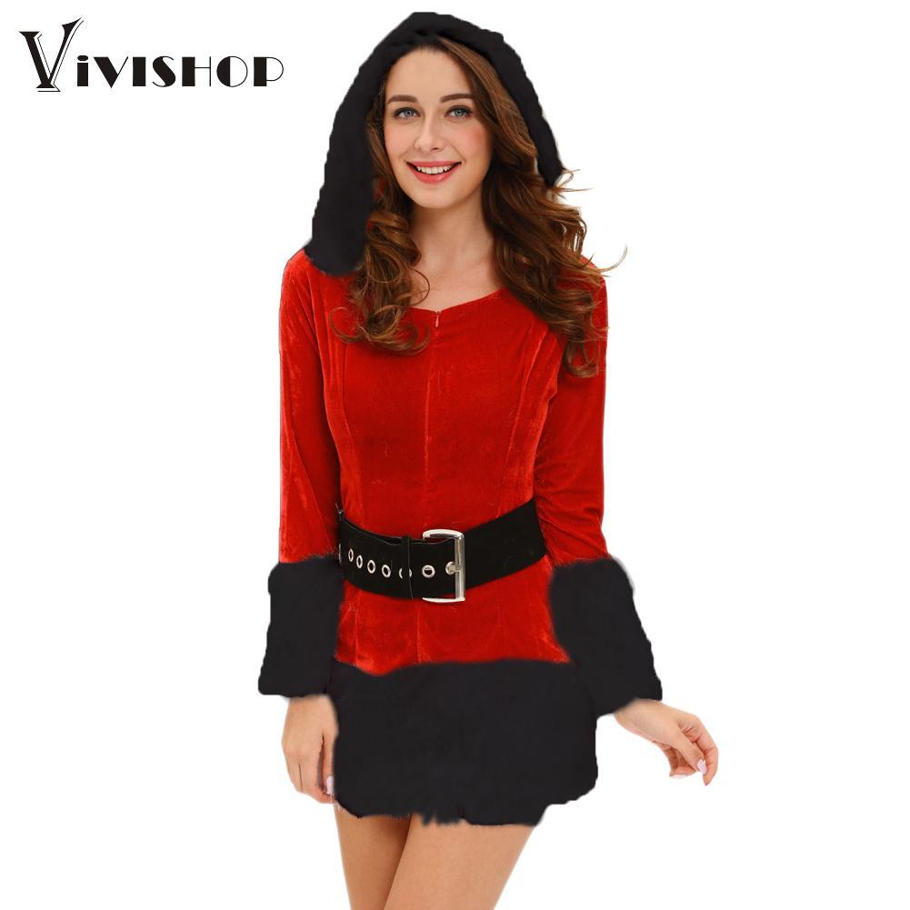 Winter women velvet fur red santa claus dress waistbelt boot cover 3 p