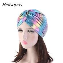 Helisopus Laser Silky Ruffle Turban for Women Muslim India Cap Headscarf Chemo Alopecia Hair Loss Hat Bonnet Hair Accessories