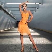 New Latin Dance Dress Black Fringe Dress Latin / Cha Cha / Rumba / Samba Performance Dance Clothing Latin Practice Dress DQS1572
