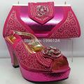 Novo Design de Calçados Italiana com Correspondência Saco Da Forma Padrão de Rede Mulheres Africanas Sapatos Italy Sapato e Bolsa Para Combinar para partido