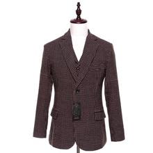 New Mens Casual font b Blazers b font Jacket Brown Dots Pattern Wool Slim England Suit