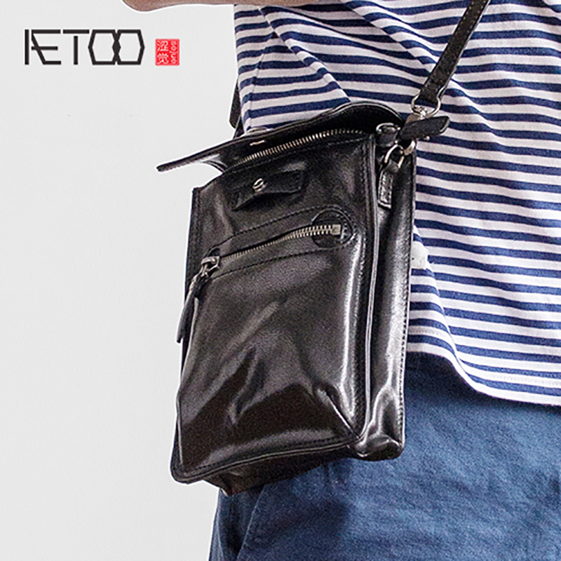 AETOO Trend small bag cowhide oblique strap baotou layer leather waist bag