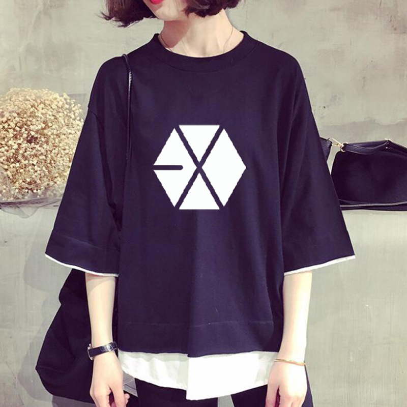 New Kpop EXO Group Letter Printed False Two Piece T Shirt Tee Short Sleeve Fashion Summer T-shirt Tops Clothes