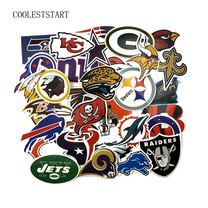 32Pcs/set NFL American Football Graffiti Stickers For Luggage Laptop Suitcase Notebook Moto Car Toy PVC Waterproof Sticker