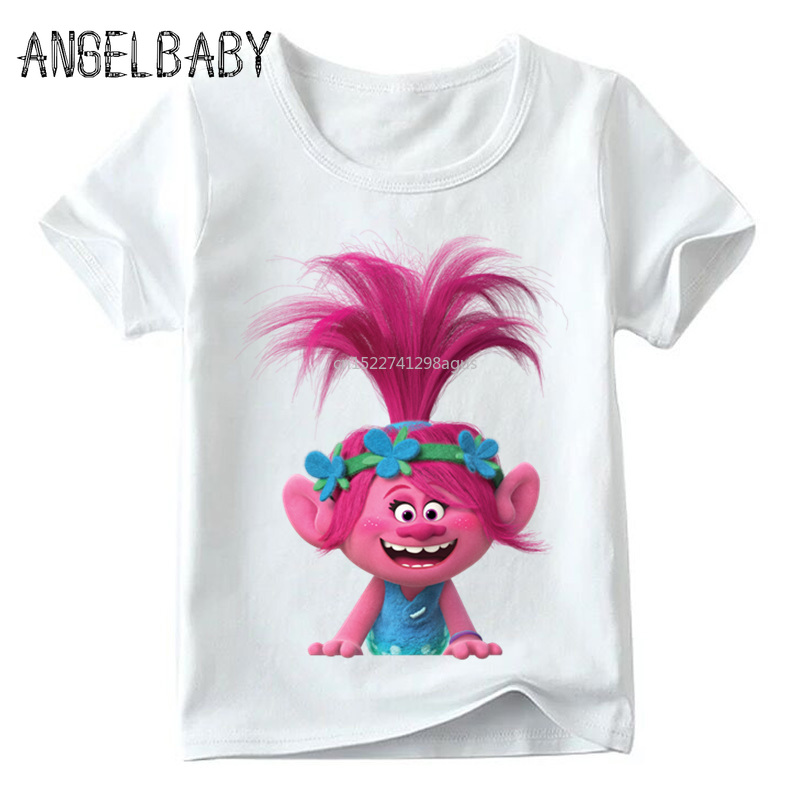 Baby Boys/Girls Cartoon Trolls Print Funny T Shirt Summer Kids Short Sleeve Tops Children Casual Clothes,ooo2417