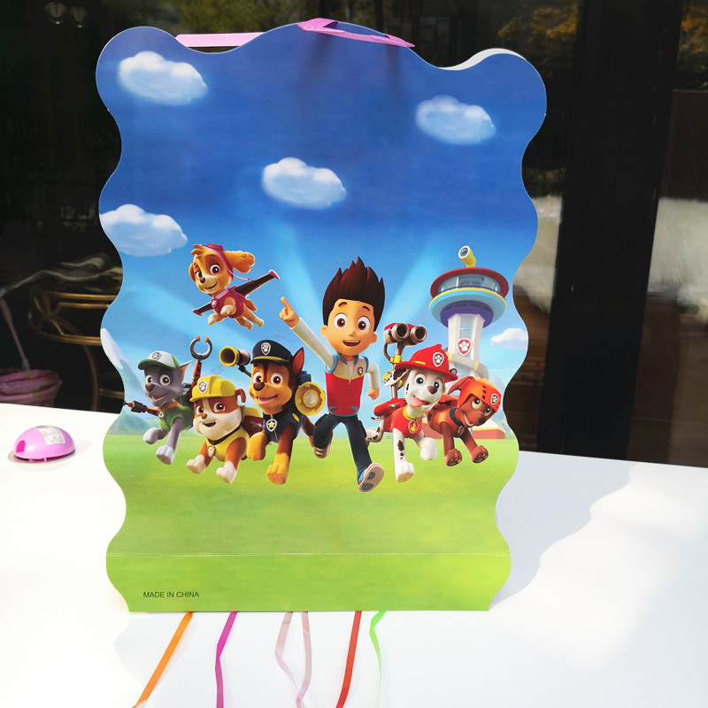 1pc 40x30x8.5cm Puppy Paw Dog Pinata theme Party Birthday Decoration play party game bingo paper folding pinata 6 rope