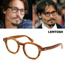 Jackjad armação de acetato, armação para óculos de grau, vintage, redonda, depp lemtosh