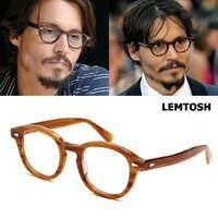 JackJad montura De acetato De alta calidad Marco De gafas estilo Jhonny Depp lemtash gafas De diseño De marca redonda Vintage Oculos De Grau
