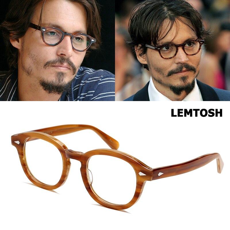 Jackjad qualidade superior acetato quadro johnny depp lemtosh estilo eyewear quadro redondo do vintage marca design óculos de grau