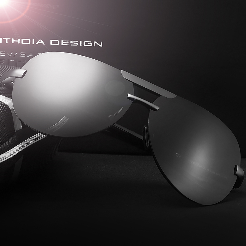 VEITHDIA ალუმინის მაგნიუმი Rimless მამაკაცის სათვალე Polarized UV400 ობიექტივი მზის სათვალეები მამაკაცის Eyewears აქსესუარები მამაკაცებისთვის 6500