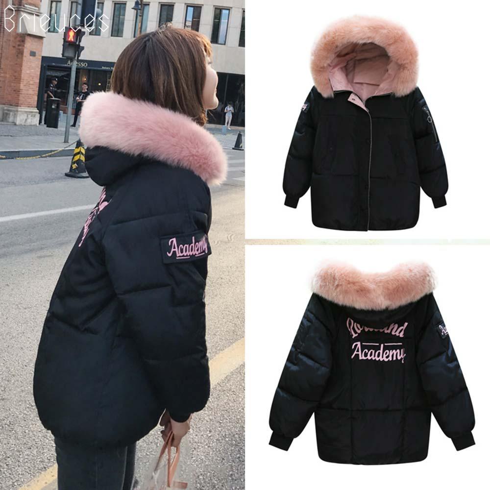 Brieuces Winter Jacket Women 2018 New Fashion Slim Female Winter Coat Thicken Parka Down Cotton Clothing Fake fox fur collar