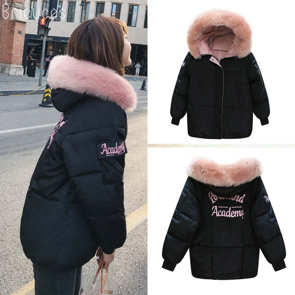 Brieuces Winter Jacket Women 2018 New Fashion Slim Female Winter Coat Thicken   Parka   Down Cotton Clothing Fake fox fur collar