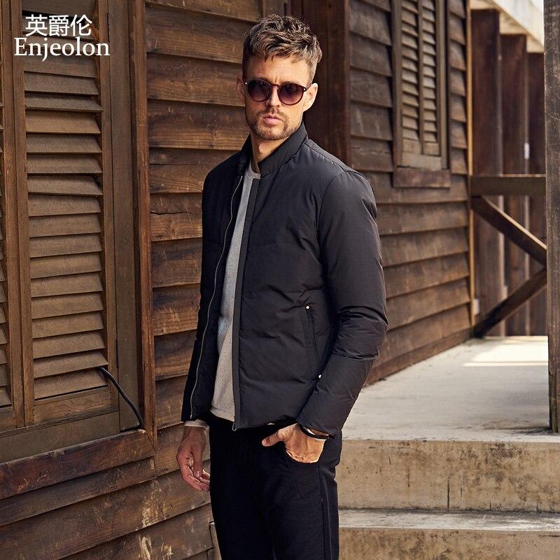 Enjeolon Brand Thicken Winter Down Jacket Men Light Down Coat White Duck Down Jacket Top Quality Warm Down Parka Jacket MF0102