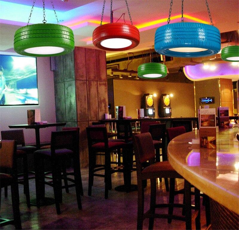 Caliente color retro colgante de neumático luces loft restaurante cafe bar estudio creativo personalizada colgante para el salón lámparas