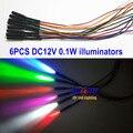 6 UNIDS Iluminadores DC12V 0.1 W Interior Del Coche Llevó la Luz Del Coche Fuente de luz 6 Colores Coches Fibra de Iluminación y Decoración Motor de la luz
