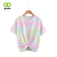 GOPLUS T-Shirt Women Casual Summer Tie Dye Round Neck Short Sleeve Tie Front T Shirt Womens Loose Tees Tops Womens Cloth C8064 цены