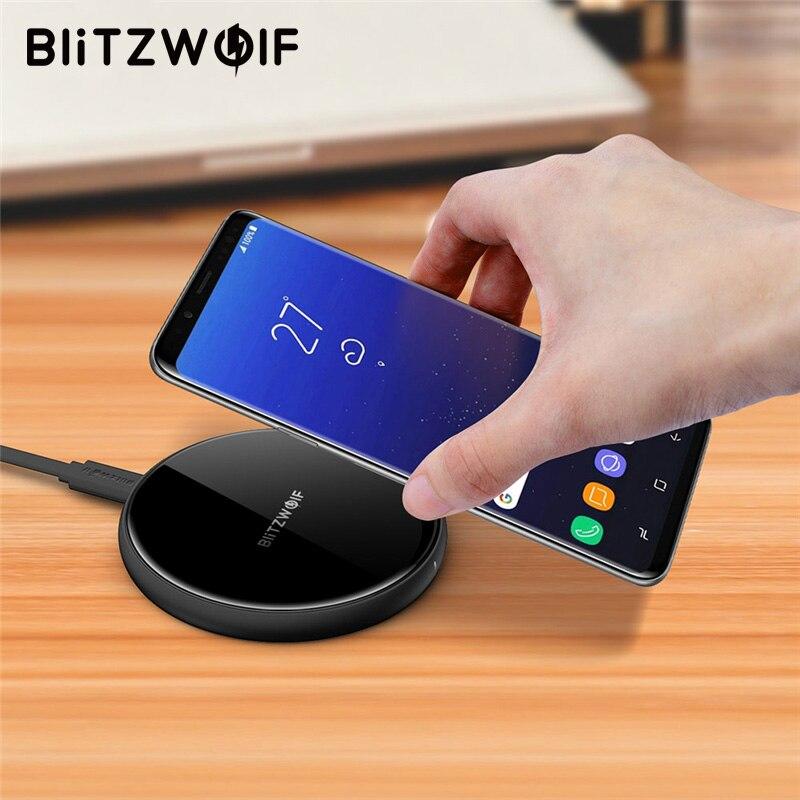 BlitzWolf QI cargador inalámbrico rápido cargador de teléfono móvil de escritorio 5 w 7,5 w 10 w rápido cojín de carga para el iPhone X Para Samsung S9 S8