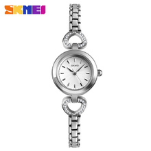 SKMEI Quartz 1408 Wristwatch Women Luxury Fashion Alloy Strap Bracelet Watch Ladies 3Bar Waterproof Watch Donna Relogio Feminino gnova platinum fashion rainbow strap bracelet women watch ethnic wooden beads fashion dress wristwatch quartz relogio a890