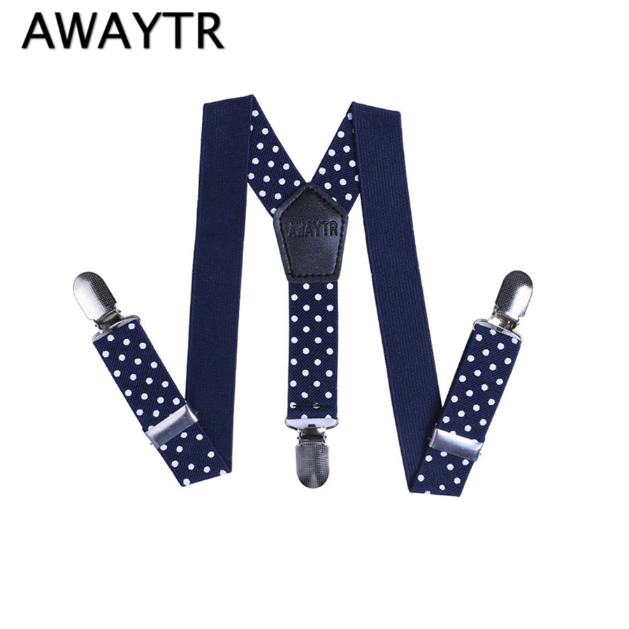AWAYTR Blue And White Dot Suspenders Fashion Boys Girl 2017 Kids Elastic Suspenders Adjustable Braces Suspoenders Shirt