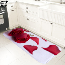 Фотография PEIYUAN Indoor Door Mat Flannel Printed Red Rose Foot Pad Toilet Tapete Rugs Carpets for Kitchen Bedroom Bathroom Hallway