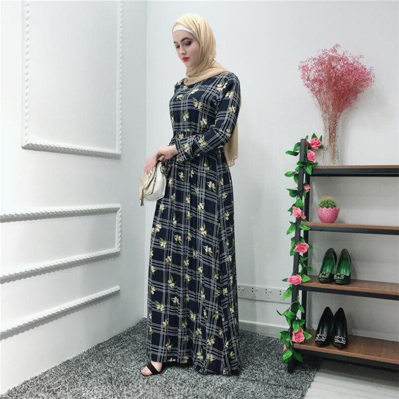 a4f73b6c60a 2019 элегантный мусульманское платье для женщин eid одежда цветочный slim  moroccan арабских мусульманская одежда для Дубай