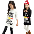 Girls Long T-shirts Dresses Cotton Velvet Thick Girls Hoodies Long Sleeve 2016 New Style  Spring  Autumn  Winter Pullover