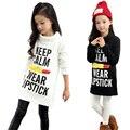 Meninas T-shirt Longos Vestidos de Veludo de Algodão Grosso Meninas Hoodies Manga Longa 2016 Novo Estilo Primavera Outono Inverno Pullover