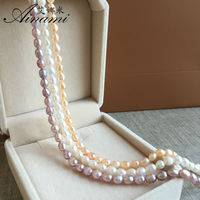 Ainami Cheapest 4 4 5mm Mini Rice Pearl Necklaces Natural Pearl Choker Necklace Classic Pearl