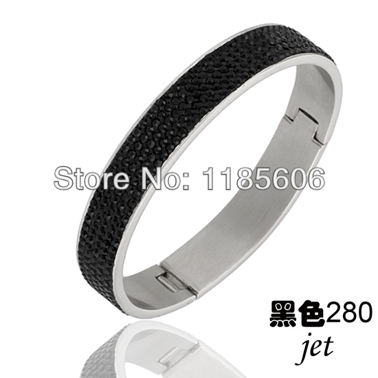 Fashion style black stainless steel bangles & bracelets women Shambhala Rhinestone Crystal Jewelry - CRYSTAL BEADS store