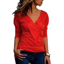 цены Women Slim T Shirt Sexy V Neck Long Sleeve Fold Tops 2019 Autumn Hot Sale Casual Pullover Streetwear Solid Color Tee Shirt S-2XL