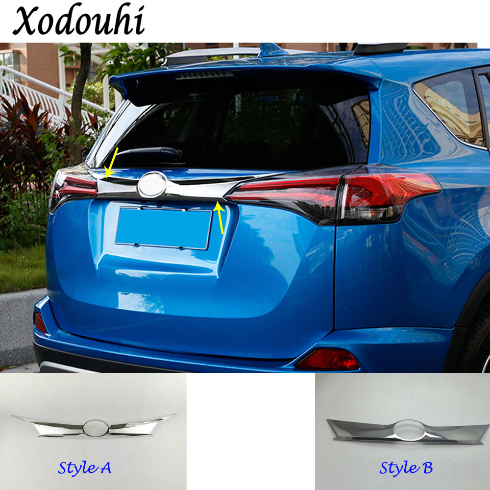 For Toyota RAV4 2016 2017 2018 ABS Chrome Car Styling Trunk Lid Cover Molding Rear Door Tail Gate Trim Stick molding 1pcs