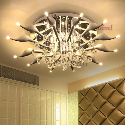 LED 30W swan 12 light ceiling light Modern/Contemporary Crystal / LED Chrome Metal Flush Mount 110-240v Size:85*85*32cm