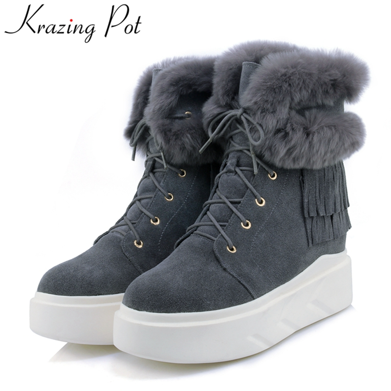 Krazing Pot 2018 genuine leather fashion flat with warm lace up casual winter boots platform round toe women Mid-Calf boots L1f1 odetina fashion genuine leather ankle boots flat woman round toe platform lace up boots autumn winter casual shoes big size 43
