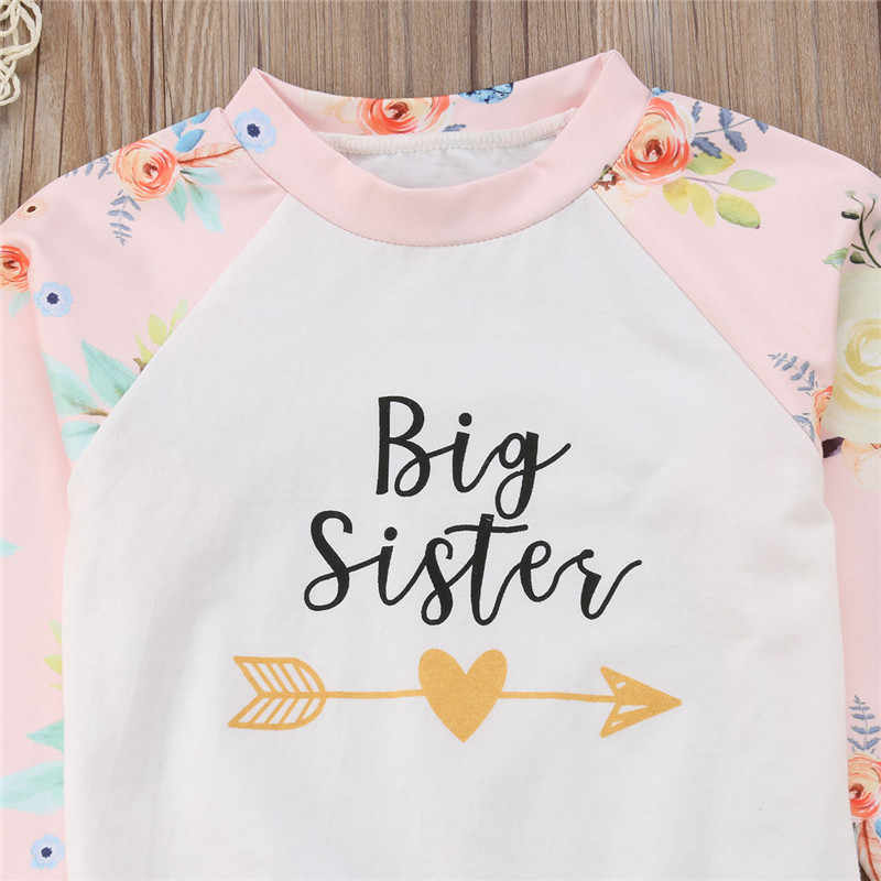 77962ee056fa ... Big/Little Sister's Matching Clothes Set Cute Newborn Baby Girls Sister  Romper/Big Sister ...