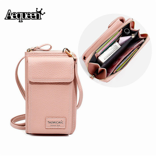 e8298adbb93fc AEQUEEN Ladies Solid Faux leather Clutch Bag Small Crossbody Bag For women  Purses 4 Card Slot Card Bag Pink Green Mini Phone Bag