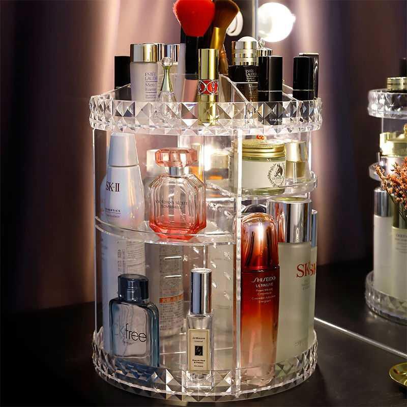 Diamant motif 360 degrés rotatif acrylique muet maquillage boîte de rangement rouge à lèvres brosse parfum vernis à ongles organisateurs cosmétiques