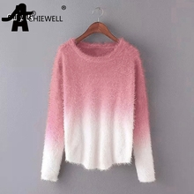 Achiewell Mohair Sweater Women Lady Gradient Color Thin Pullover Loose  Kitted Women S Clothing(China) f6d924b1a